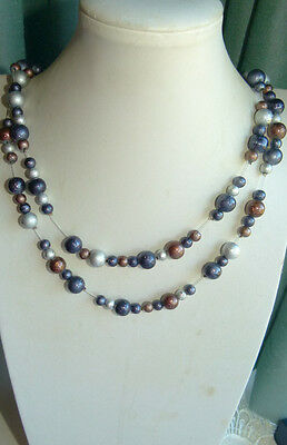 Jewellery Mixed Colour Glass Ball Bead Necklace, Silver Bronze & Grey 342