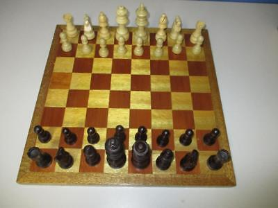 """All Timber CHESS SET with wood inlay Board 14.5"""" Playing Board Excellent"""