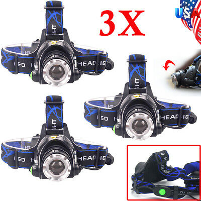 Tactical 60000LM T6 LED Headlamp 18650 Head light Flashsligh Lamp Charger Torch