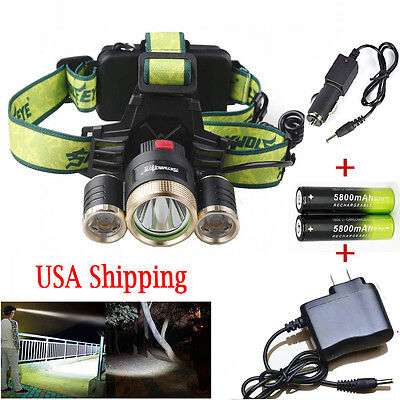 Headlamp Rechargeable Tactical 3X T6 LED 40000LM Torch& Battery&Charger For Camp