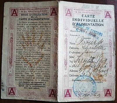 Ancien documents papier Ticket ration 1922