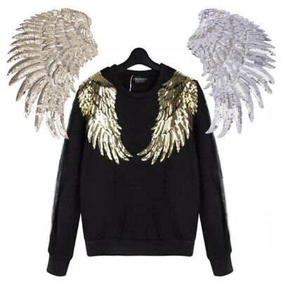 2x Sequined Feather Wings Patches Appliques Embroidery Patch FOR Shirt Dress Bag