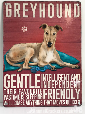 20cm metal vintage style Red Fawn Greyhound breed character hanging sign plaque