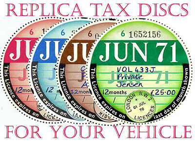 Tax Discs~4 Quality Replicas For  Discerning Owners. All Years From 1921-2026>>>