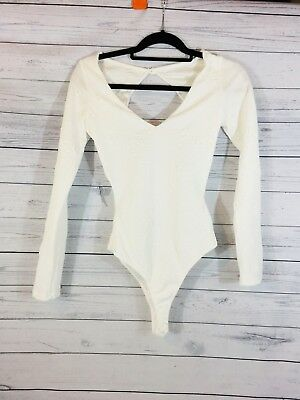 HMS Women's Body Suit White Embossed Medium Low V Open Back Sexy