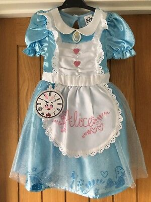 Tesco Disney Alice In Wonderland Costume/outfit Age 3 4 With Black Headband
