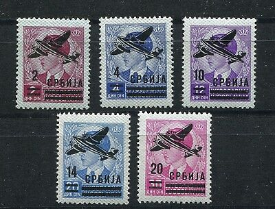 GERMANY 3rd REICH OCCUPATION WW2 SERBIA AIR MAIL 2NC16-2NC20 PERFECT MNH