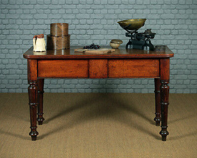Antique Large Oak Two Drawer Side Table c.1860.