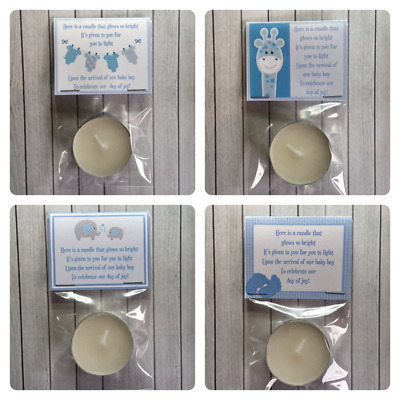 Baby shower PERSONALISED tealight SCENTED candle favours BLUE THEME