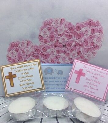 Christening Baptism First Holy Communion tealight SCENTED candle favours