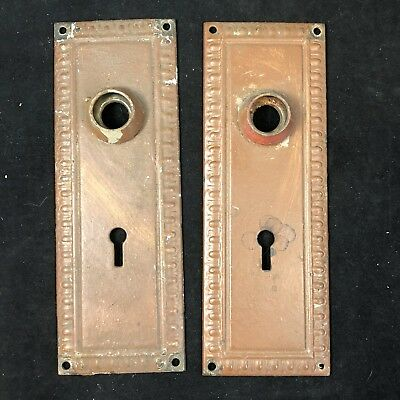 2 Vintage Stamped Brass Door Knob Back Plates Escutcheons