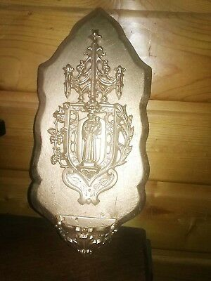 antique French religious holy water font  Fine Cast iron filigree NICE!
