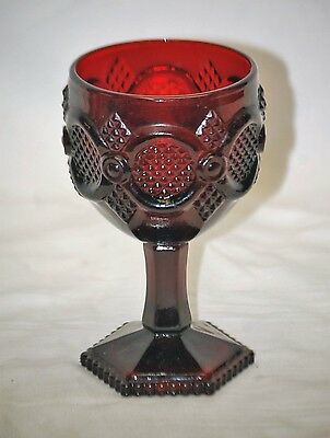 """Old Vintage Cape Cod Ruby Red 6"""" Water Wine Goblet Glass by Avon Cut Ruby"""