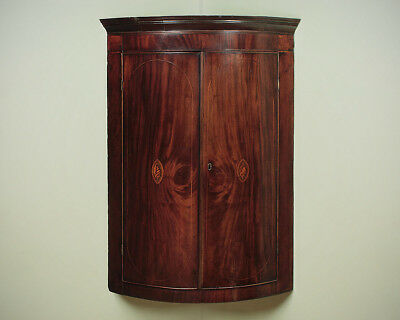 Antique George III Inlaid Bow Front Corner Cupboard c.1810.