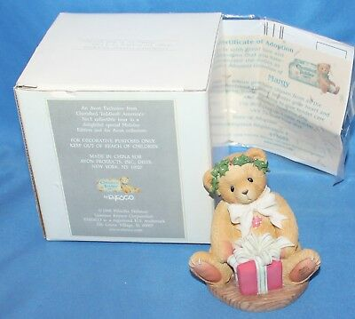 Cherished Teddies Margy I'm Wrappin Figurine Avon Exclusive # 475602 1998 Enesco