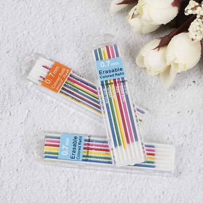 3 Boxes 0.7mm Colored Mechanical Pencil Refill Lead Erasable Student Stationa Ga