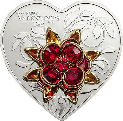HAPPY VALENTINE'S DAY Heart Shaped Silver Coin with Swarovski CK 2019
