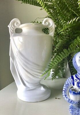 Vintage Neoclassical Style Italian Pottery White Glazed Vase Urn Made in Italy