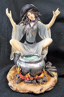 Witch Fairy with Hot Cauldron Of Potions mythical decor