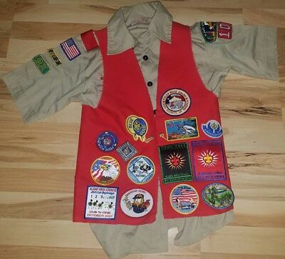 Boy Scout Shirt With Red Vest Including Over 30 Patches & 3 Pins