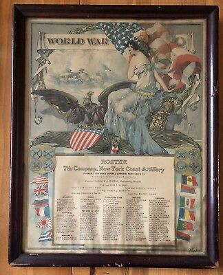 World War 1 WW1 Framed Roster 7th Company New York Coast Artillery Antique