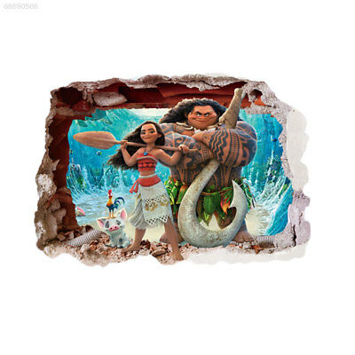 E94D Moana 3D Cartoon Waterproof Wall Stickers Bedroom Living Room Decor Kids