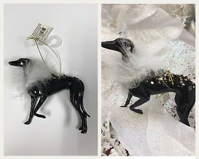 NWT SET Of 2 Beautiful Greyhound Whippet Ornament Ornaments Christmas Tree Decor