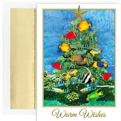 TROPICAL FISH TREE 18 pack Boxed Christmas Cards 917700 2018