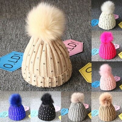 Newborn Baby Boy Girls Winter Warm Pom Pom Bobble Knit Beanie Hats Cap