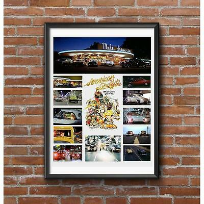 American Graffiti Collage Tribute Poster - Famous Cars from the Film