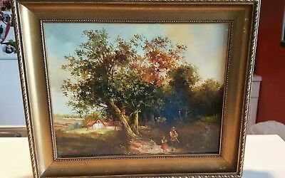 Lovely Original Vintage Landscape Oil Painting in Wood Frame signed  . 12x9.5