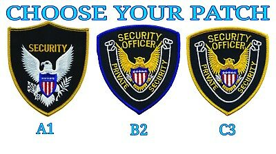 Pair of 2 Private Security Officer Eagle Center Shoulder Patch Yellow Blue Gold