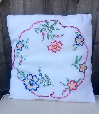 "Vintage Hand Embroidered Cushion Floral Colourful 17"" GC Beautiful English"