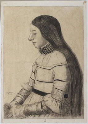 Original dated 1905 lady with very long hair, by P. Gusel, signed