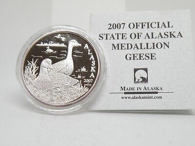2007 Official Alaska Commemorative Medallion Geese 1 troy oz .999 silver Proof