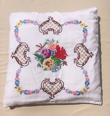 "Vintage Hand Embroidered Cushion Floral Colourful 16"" VGC Beautiful English"