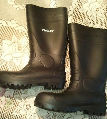 "Tingley 15"" Economy PVC Mens Size 9 Black Steel Toe Rubber Work Boots"