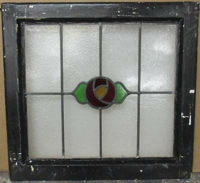 """OLD ENGLISH LEADED STAINED GLASS WINDOW Gorgeous Floral Design 20"""" x 18.75"""""""