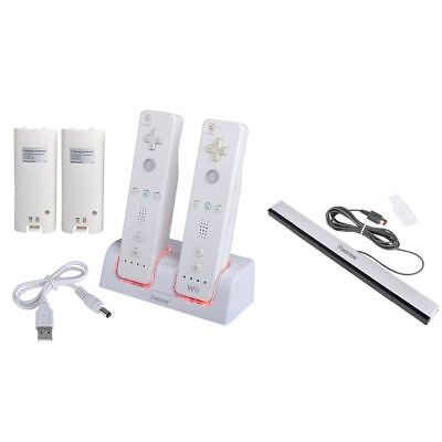 For Nintendo Wii Remote Control Black Wired Sensor Bar+White Dual Charging Dock
