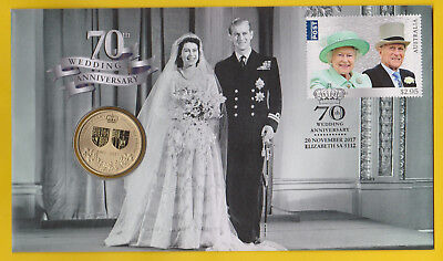 70th Wedding Anniversary - 2017 First Day Cover / PNC with $1 coin