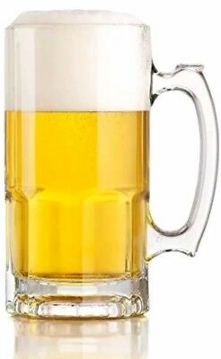 1 Vintage One Liter German Style X Large Glass Beer Stein Super Mug 34 Ounce Bar