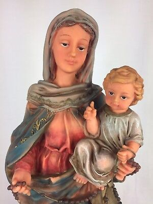 "Virgin Mary Our Lady Madonna Holding Child 15"" tall Statue Figure Very Nice"