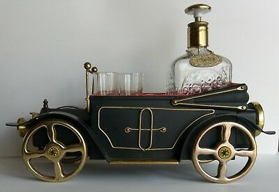 Vintage Musical Decanter Car 4 Shot Glasses and Bottle Great Working Condition