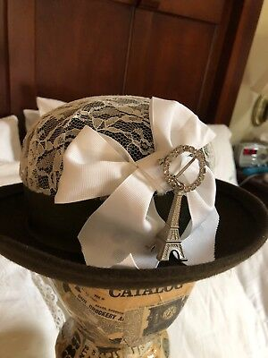 Vintage Womens Wool Hat Lace & Bow With Rhinestone Pin Detail