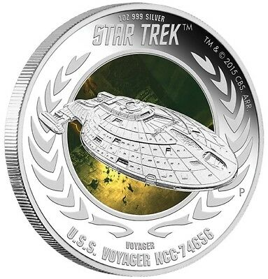 2015 Star Trek: Voyager - U.S.S. Voyager NCC-74656 1oz Silver Proof Coin