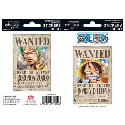One Piece Wanted Ruffy Zorro Sticker Set