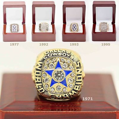 NFL Football Dallas Cowboys Super Bowl 5 Years Champion Ring Irvin Wood Box 1/PK