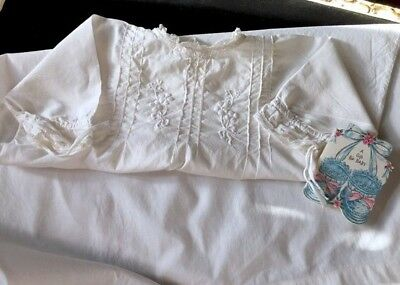 Antique baby nightgown white linen lawn hand stitched hand embroidered pleats