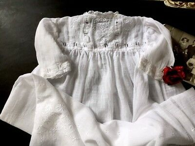 Antique Victorian baby gown embroidered sheer muslin delicate lace trim newborn