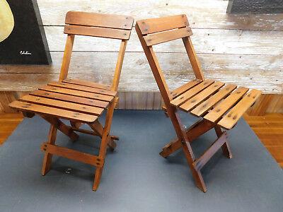 Pair of childs slat wood folding chairs vintage deck chairs